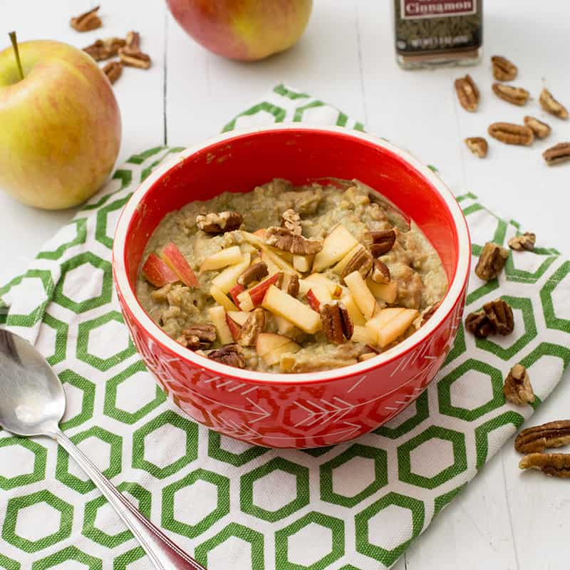 Apple Cinnamon Cauliflower Oatmeal in a red bowl