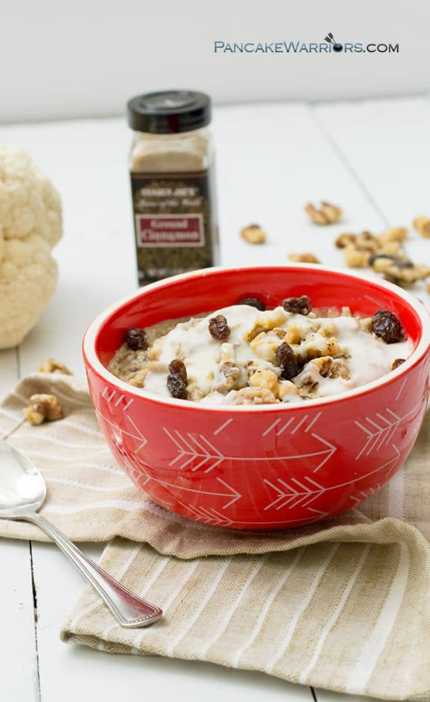 cinnamon bun caulioats in a red bowl