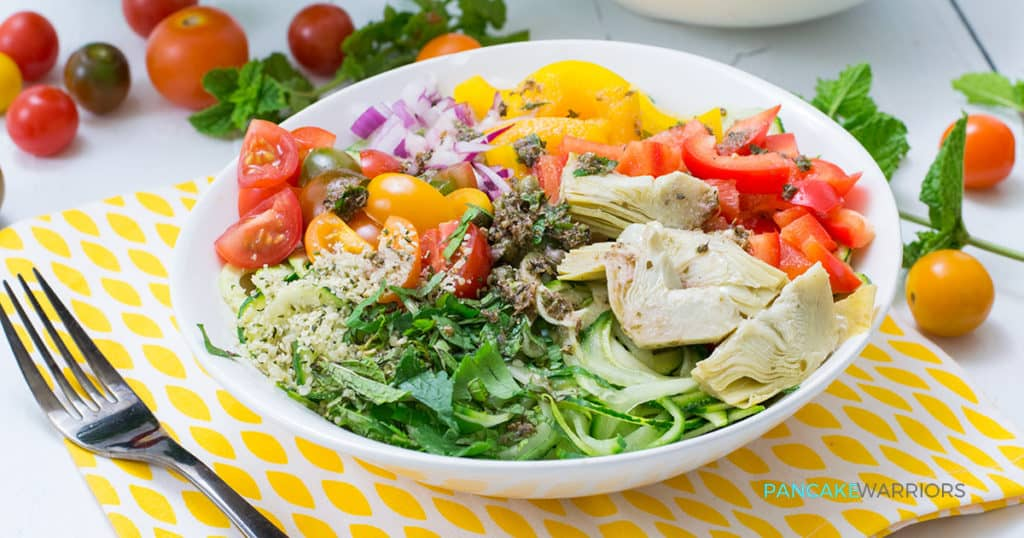 This Greek Zoodle Bowl recipe