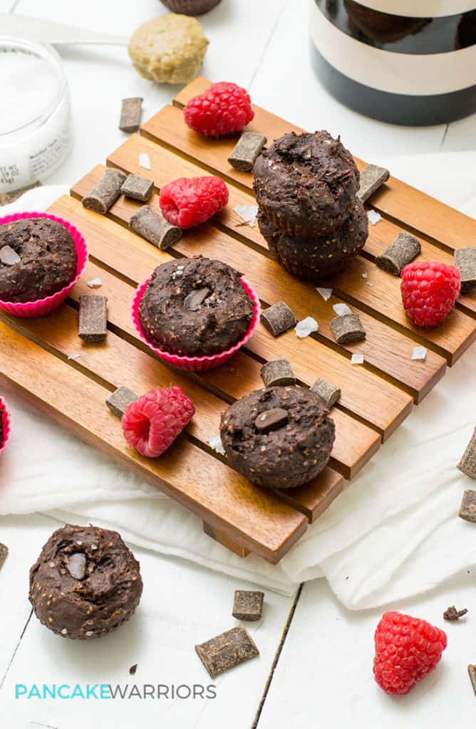 protein brownie bites with raspberries and chocolate pieces