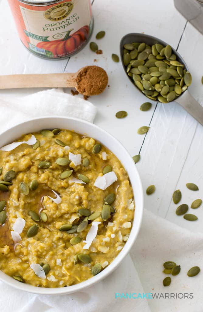 simple grain-free pumpkin cauliflower oatmeal with pumpkin seeds and coconut flakes