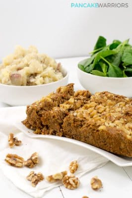 Vegan walnut lentil loaf, gluten free, simple dinner recipe | www.pancakewarriors.com