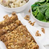 Vegan walnut lentil loaf with mashed cauliflower and a salad