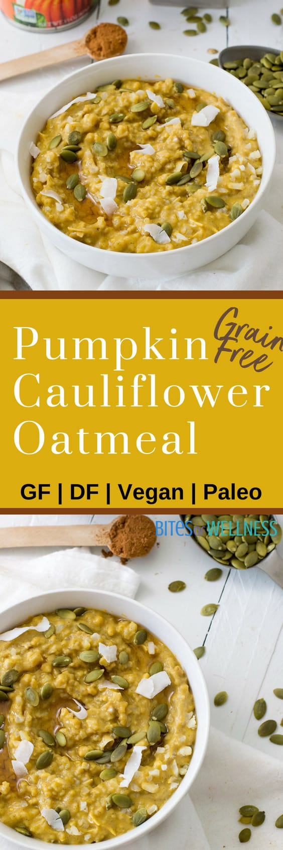 This simple grainfree pumpkin cauliflower oatmeal recipe is vegan, gluten free, grain free, paleo and delicious! Perfect way to start the day!