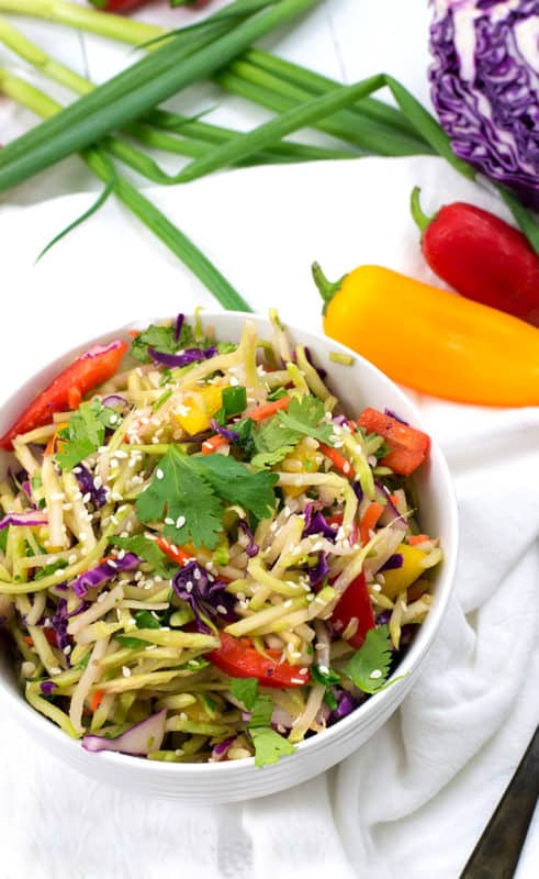 This sesame ginger broccoli slaw is the perfect side dish or can really shine as the main dish with the addition of healthy protein. Vegan, paleo, gluten free, and ready in just minutes | www.pancakewarriors.com