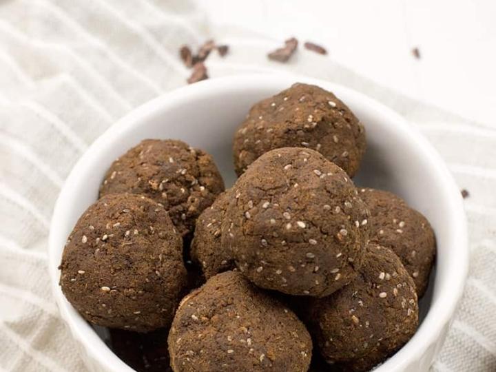 hemp protein brownie bites in a bowl