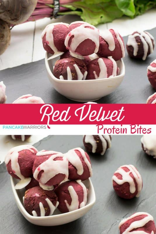 Red velvet protein bites. These little bites of heaven are the perfect snack or after dinner indulgence. Gluten free, vegan, high protein, no added sugar, and no artificial colors! Plus yummy frosting!