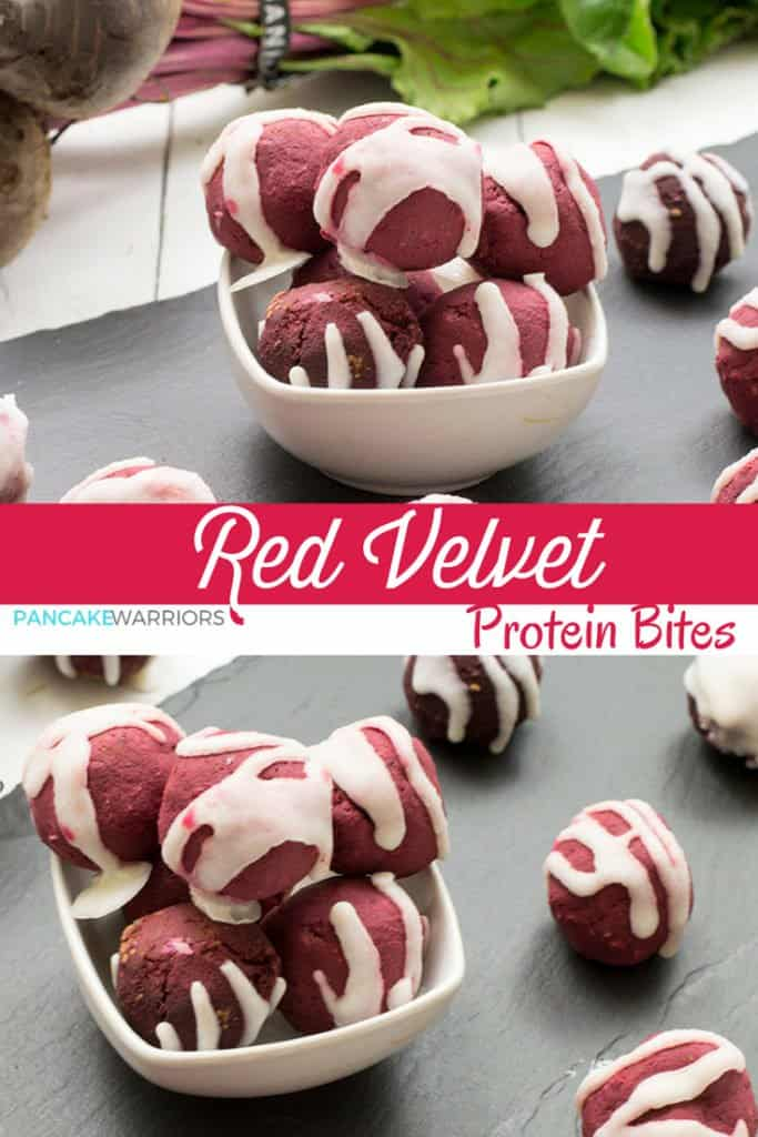 Red velvet protein bites drizzled with coconut butter piled in a bowl