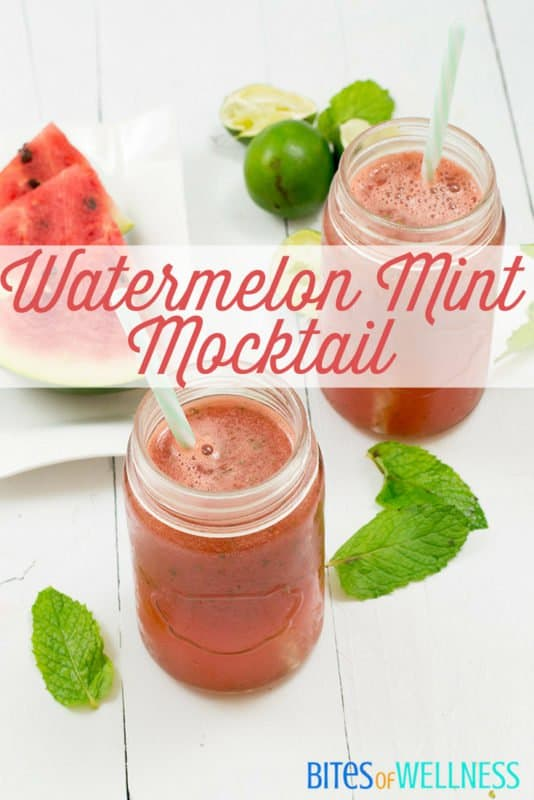 Enjoy this refreshing watermelon mint mocktail to cool off this summer! Paleo, vegan, whole30 approved! | bitesofwellness.com