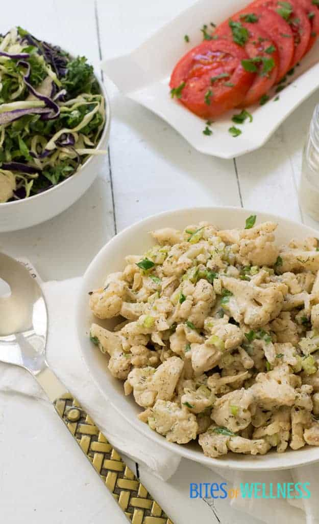 creamy, tangy whole30 cauliflower potato salad