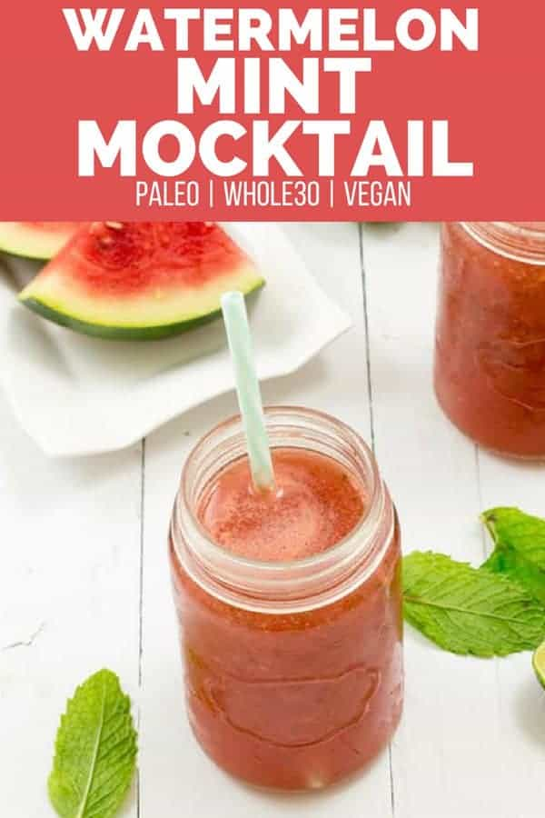 A refreshing mocktail of watermelon and mint in a mason jar with a straw