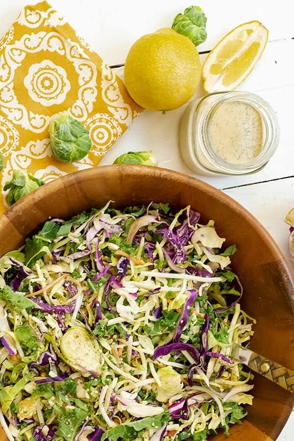 Cruciferous crunch salad in a wooden salad bowl