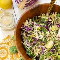 cruciferous crunch salad with lemon tahini dressing