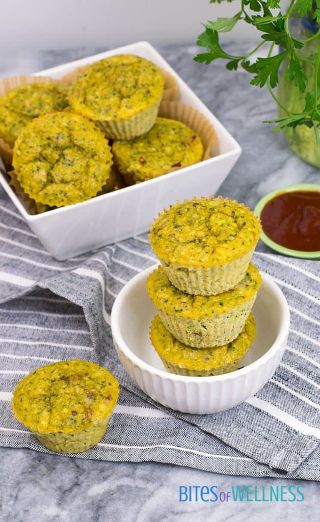 Whole30 Broccoli Cheese Muffins stacked in a bowl