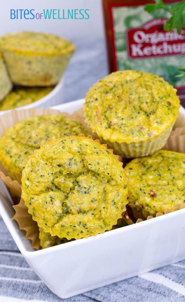 Whole30 Broccoli Cheese Muffins piled in a bowl