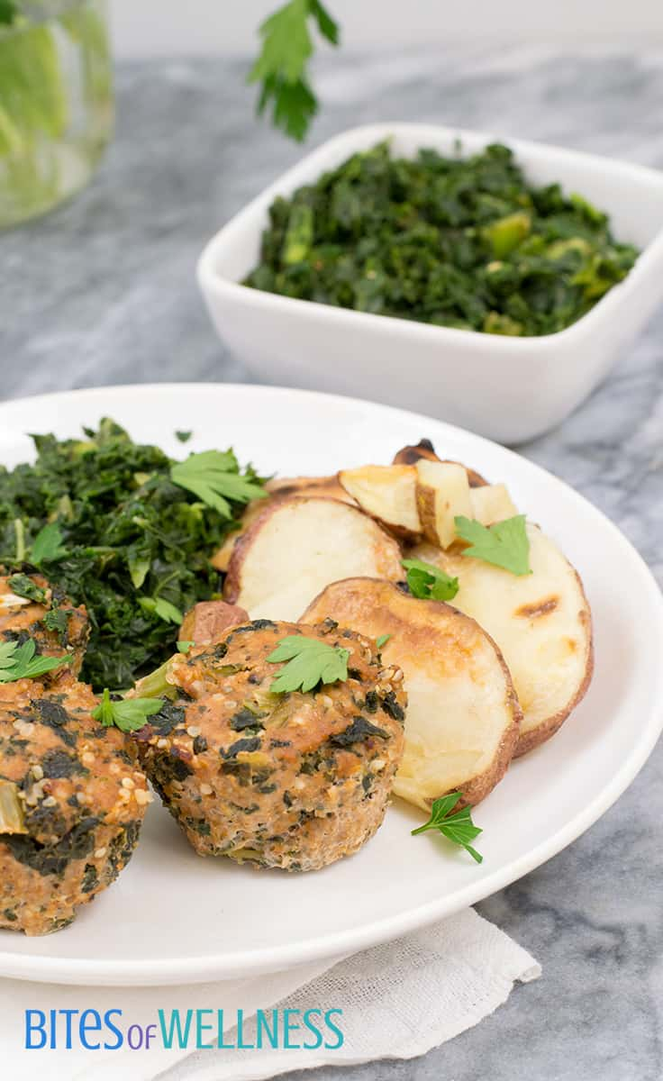 Whole30 mini turkey meatloaf with potatos and spinach