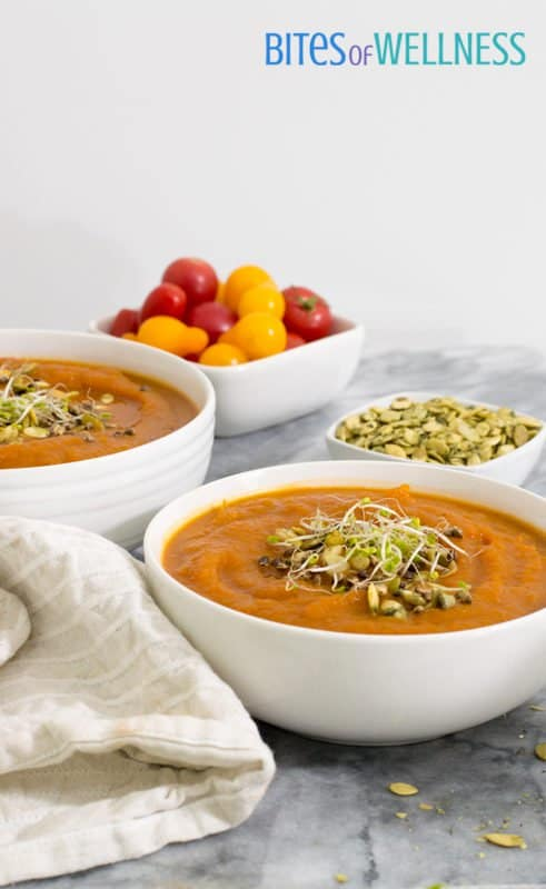 This slow cooker curried butternut squash soup is the perfect meal for a busy weeknight or Sunday Supper. It's vegan, gluten free, paleo, Whole30 and so easy! | bitesofwellness.com