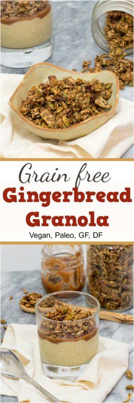 This gingerbread grain free granola is the perfect snack or topping for your favorite sweet dish! Vegan, gluten free, grain free, paleo.| bitesofwellness.com #granola #grainfree