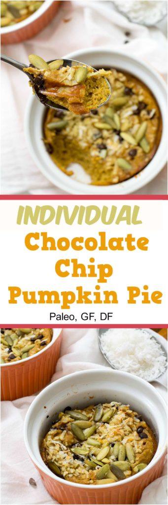 Enjoy this simple individual crustless chocolate chip pumpkin pie anytime! #pumpkin #Glutenfree, #grainfree, whole30, #paleo #easy   https://bitesofwellness.com