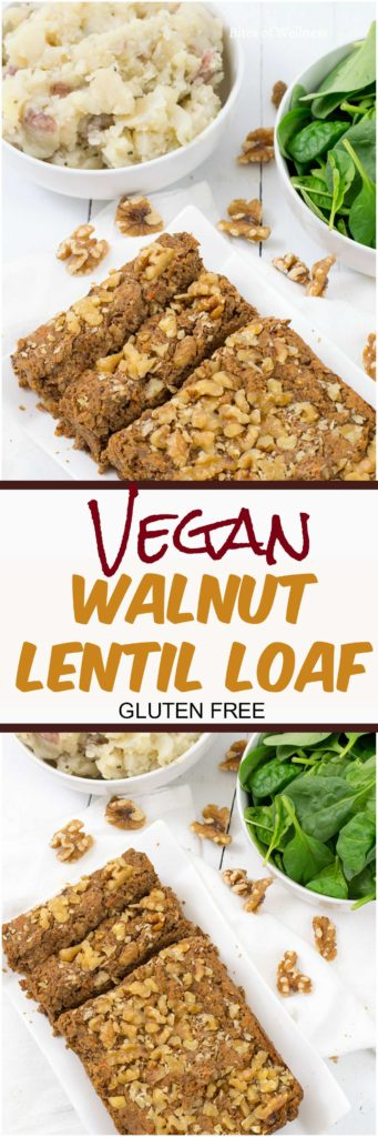Vegan walnut lentil loaf, gluten free, simple dinner recipe! #vegan #glutenfree #simple | https://bitesofwellness.com