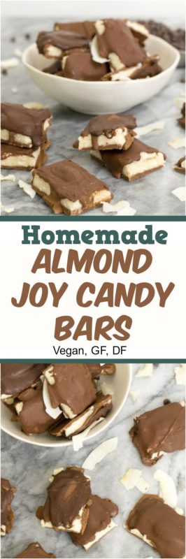 These homemade almond joy candy bars are made with 100% real ingredients and have no processed sugar. Gluten free, grain free, paleo friendly, and vegan. | bitesofwellness.com #dessert #vegan #dairyfree