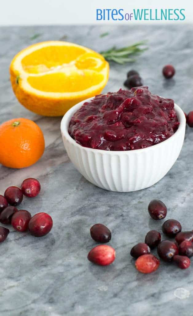 Orange ginger homemade cranberry sauce piled high in a bowl