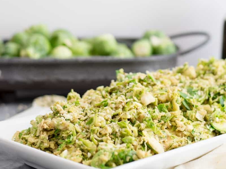 Shaved brussels sprouts salad with creamy balsamic dressing
