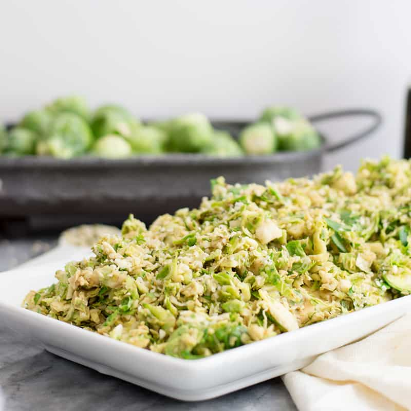 Shaved Brussels Sprouts Salad with Creamy Balsamic Dressing (#SundaySupper)