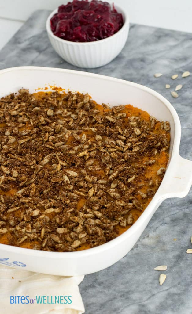 Sweet potato casserole in casserole dish