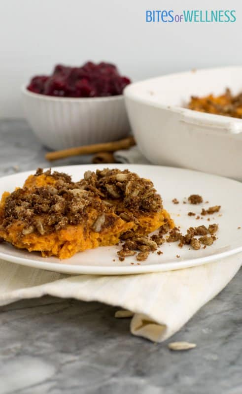 This simple healthy sweet potato casserole is dairy-free, low-fat, paleo and ready in about 30 minutes (from start to finish). | bitesofwellness.com