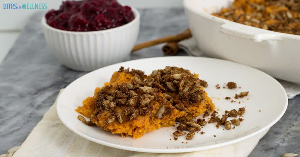 Sweet potato casserole with cranberry sauce