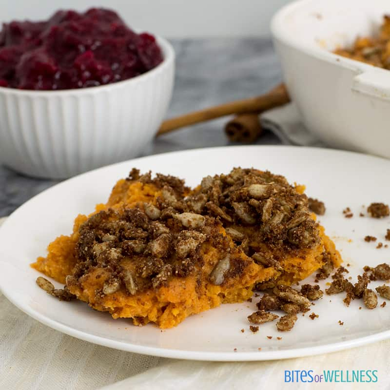 Sweet potato casserole with cranberry sauce close up picture