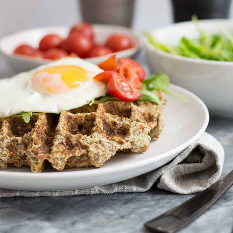 Simple Low Carb Savory Cauliflower Waffles (Whole30, Paleo)