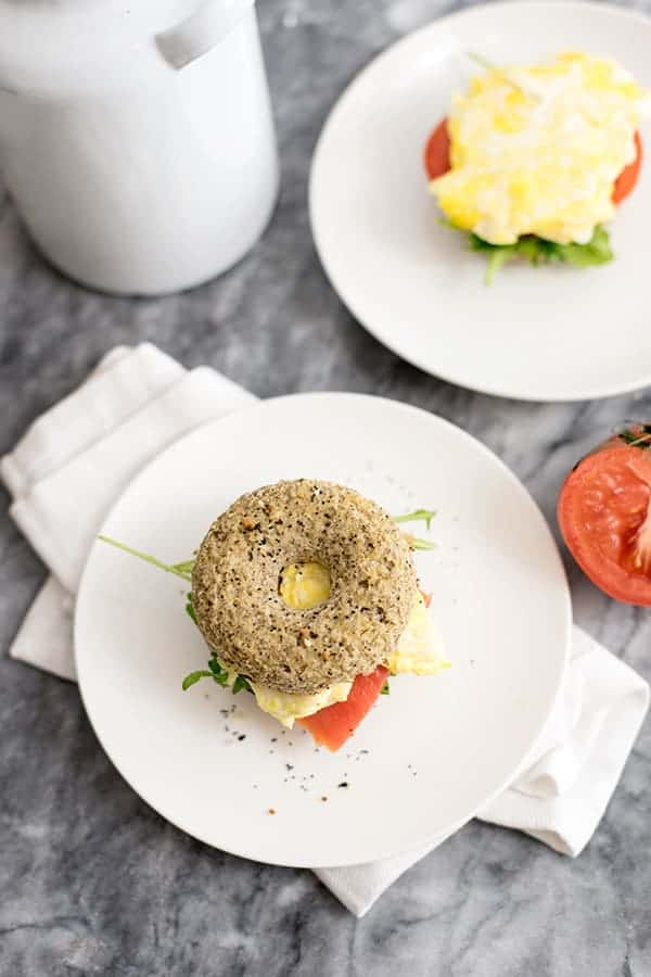 Cauliflower low carb bagels breakfast sandwich with egg and smoked salmon
