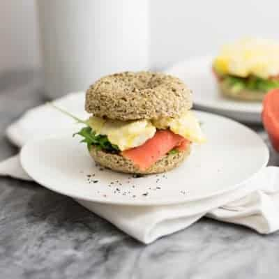 These cauliflower low carb bagels are going to be your new favorite low carb breakfast! Gluten free, grain free, paleo and Whole30 approved! #paleo #glutenfree #lowcarb #grainfree | bitesofwellness.com