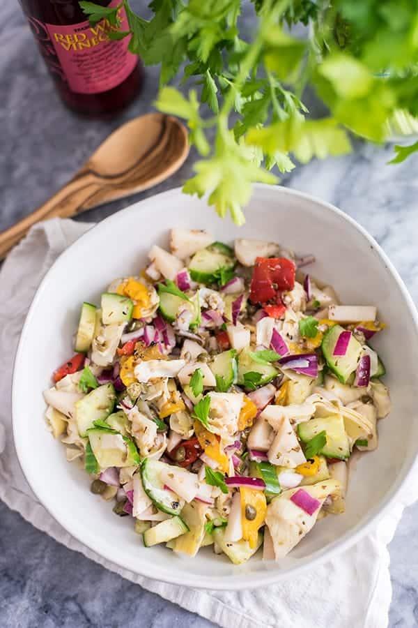 Chopped greek salad in a bowl