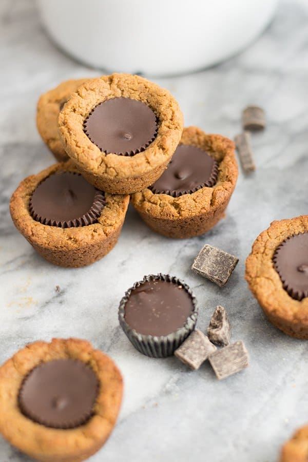 Dark chocolate peanut butter cup cookies with chocolate pieces