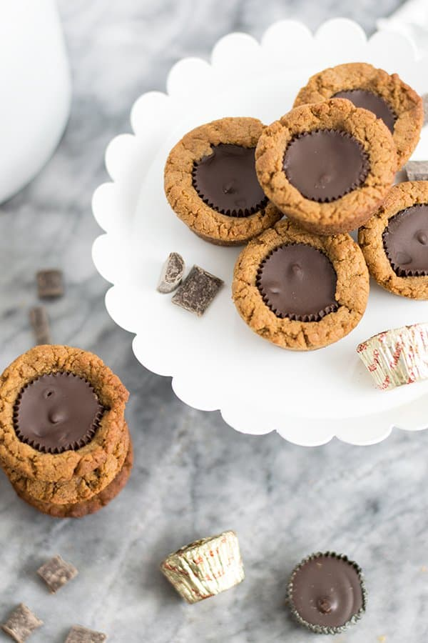Dark chocolate peanut butter cup cookies on a serving plate