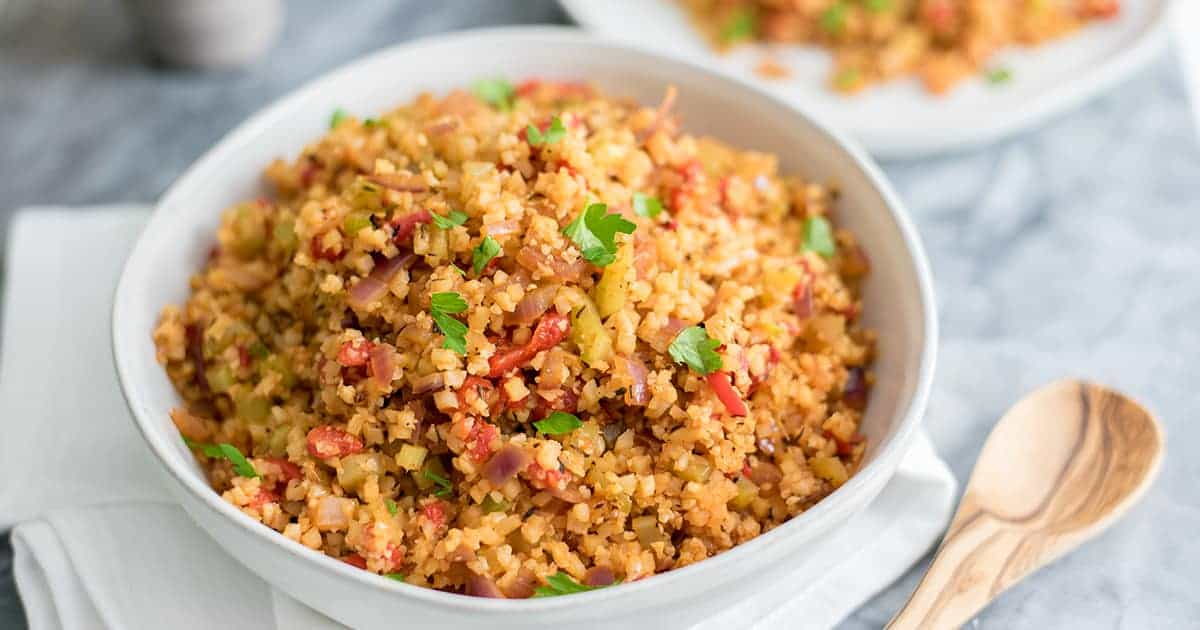 Grain-free whole30 cauliflower dirty rice in a bowl