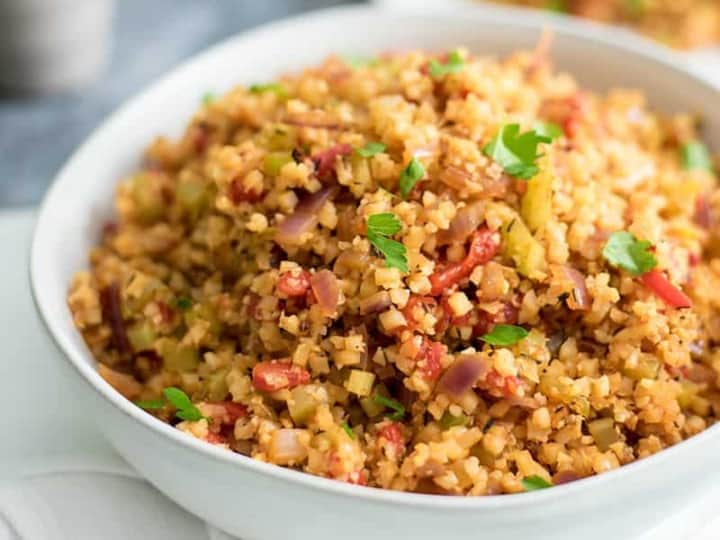 This easy grain-free whole30 cauliflower dirty rice is the perfect weeknight meal. Ready in 15 minutes and full of flavor. Grain free, paleo, vegan, whole30, gluten free. #whole30 #grainfree #paleo #vegan