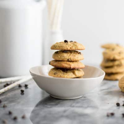 These gluten free dairy free chocolate chip cookies are going to be your new go-to recipe! They are grain free, gluten free and paleo friendly! #grainfree #glutenfree #cookies #dairyfree #chocolatechip | bitesofwellness.com