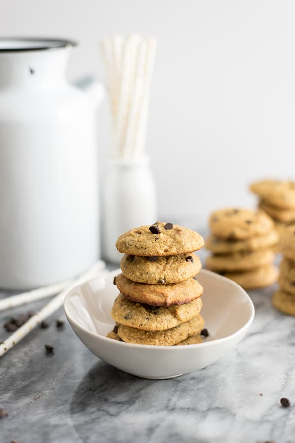 Gluten free dairy free chocolate chip cookies stacked on top of each other