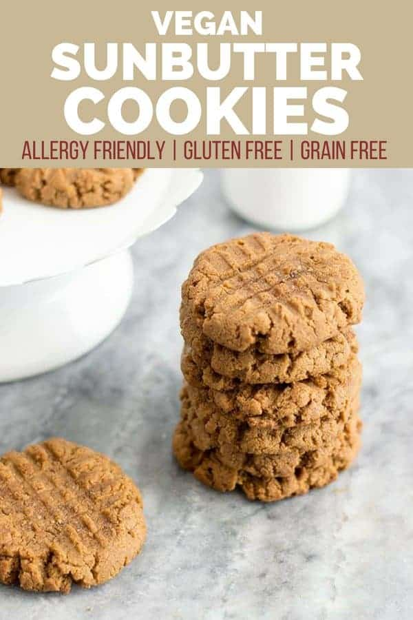 A delicious stack of allergy friendly sunbutter cookies on a counter
