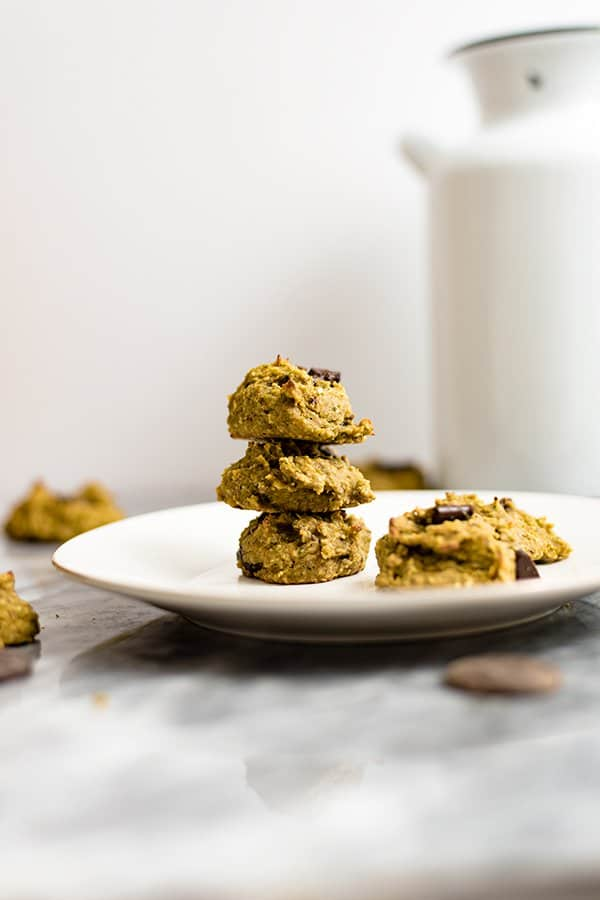 Healthy Oatmeal Chocolate Chip Cookies stacked on a white plate