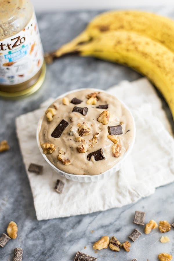 Homemade chunky monkey ice cream with nuttzo nut butter