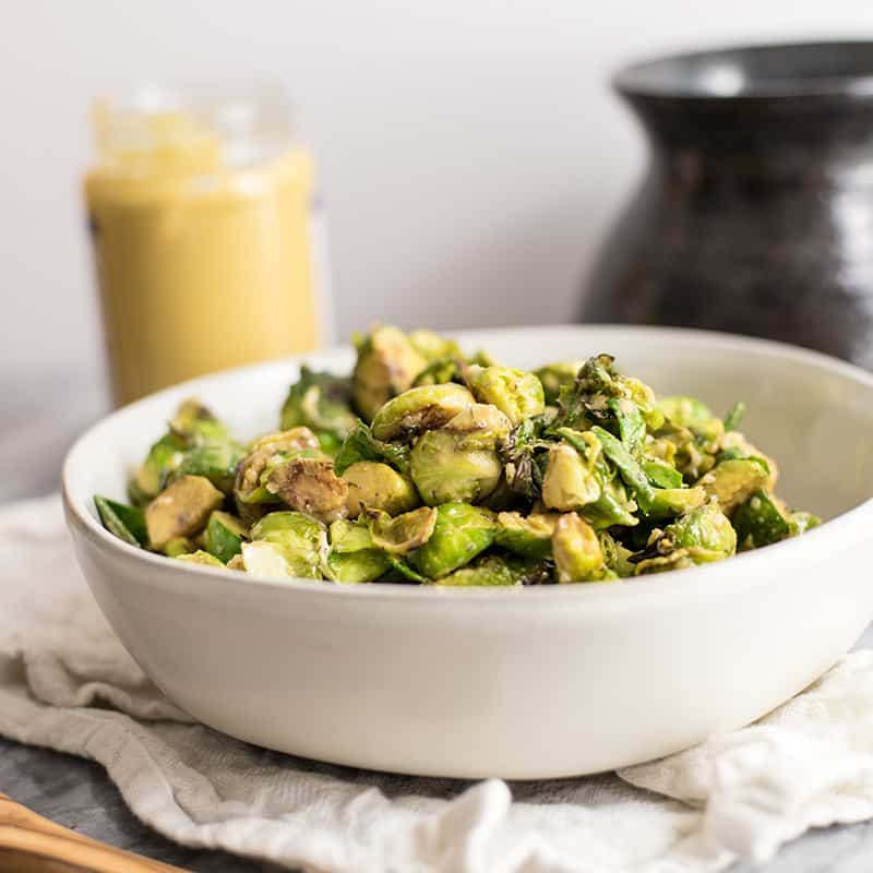 Paleo Brussels Sprouts with Creamy Dijon Sauce