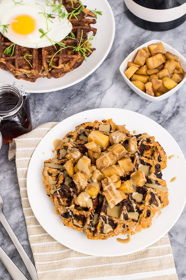 Paleo Sweet Potato Waffles with cinnamon spiced apples and peanut butter drizzle