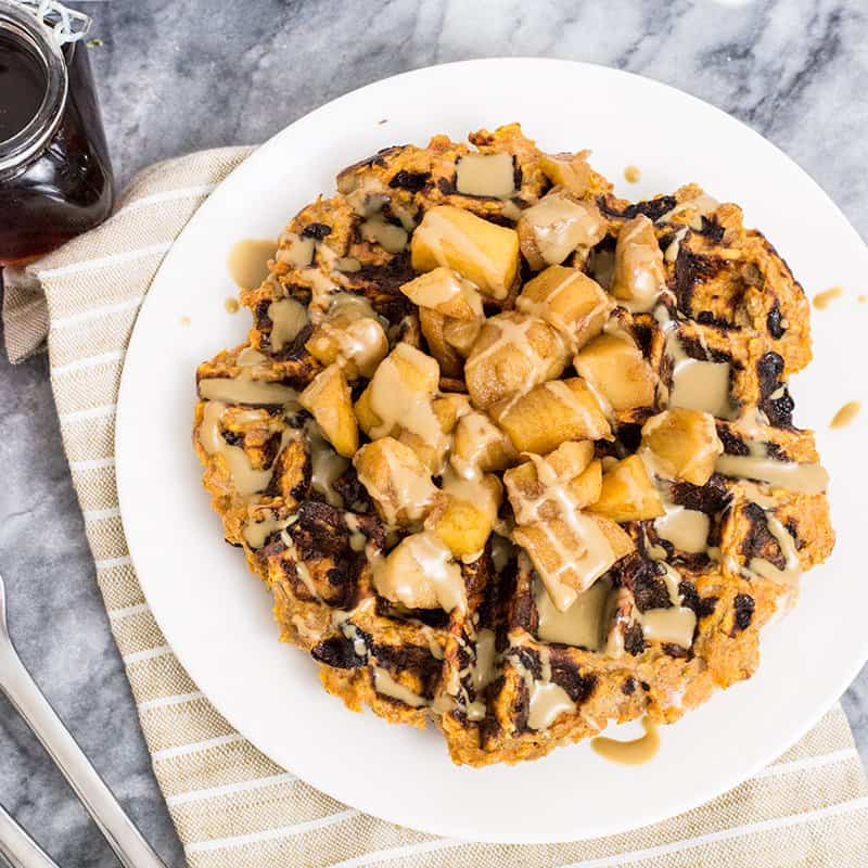 These paleo sweet potato waffles are the perfect sweet or savory breakfast idea! Vegetarian, grain free, gluten free, paleo and dairy free! Ready in minutes! #paleo #waffles #whole30 #grainfree