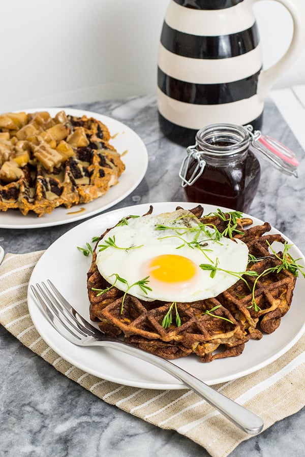 Paleo Sweet Potato Waffles with an egg and fork