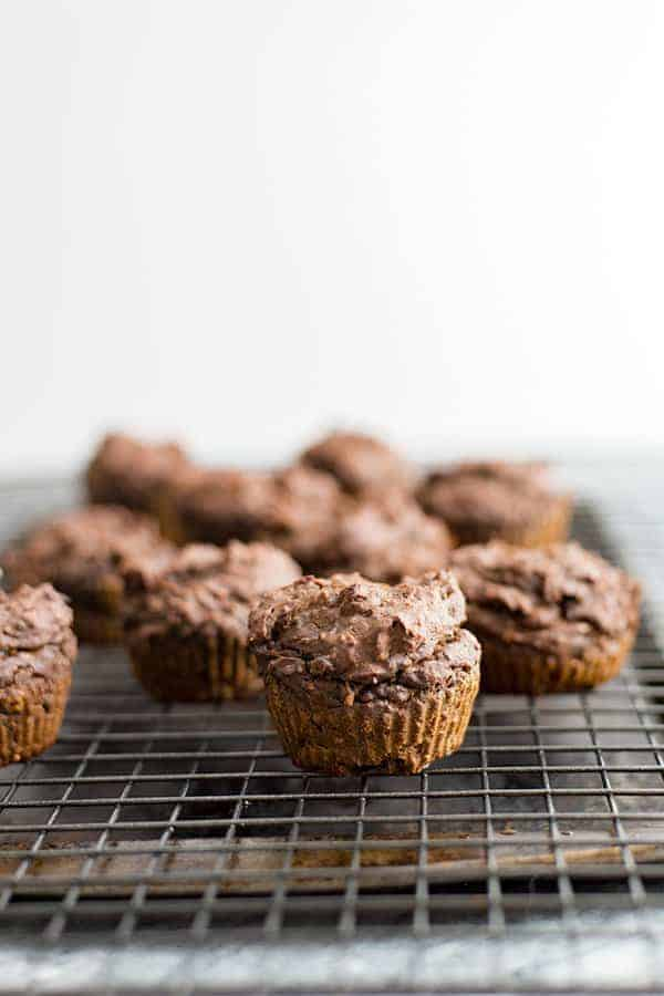 Vegan Chocolate Protein Muffins on a cooling rack